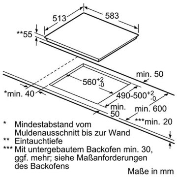 Siemens EH645BB17 iQ300  abmessungen
